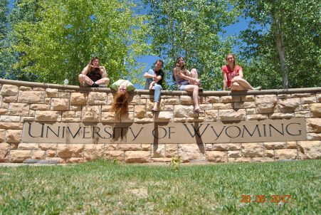 Left to Right: Stephanie, Kenzie, Ashlyn, Morgan and I on the UW Sign